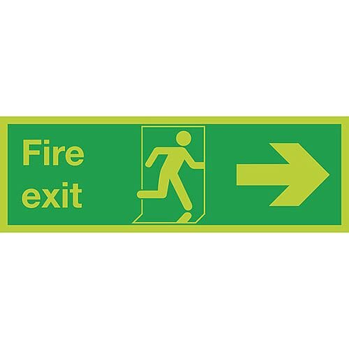 Safety Sign Niteglo Glow In The Dark Fire Exit Running Man Arrow Right 150x450mm Self-Adhesive Vinyl