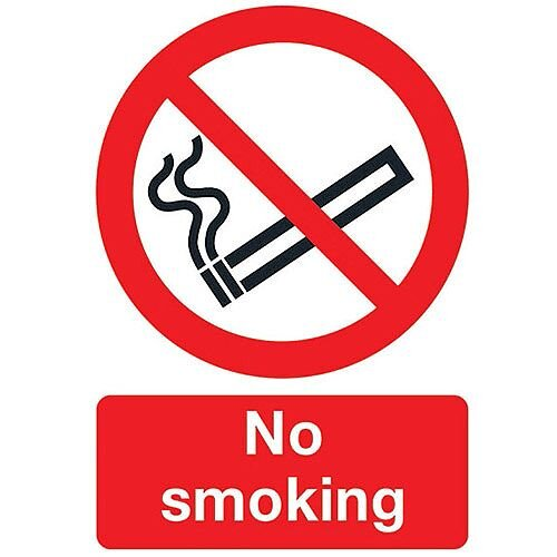 Safety Sign No Smoking A4 PVC Pack of 1 ML02079R