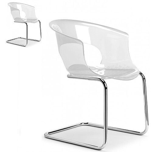 Miss B Antishock Chair With Chrome Cantilever Base Transparent Set of 2