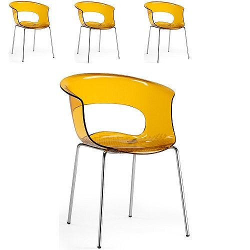 Miss B Antishock Canteen &Breakout Chrome Leg Chair Translucent Orange Set of 4