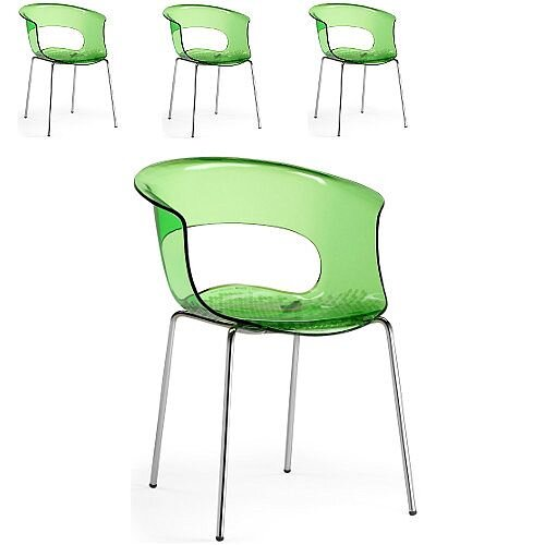 Miss B Antishock Canteen &Breakout Chrome Leg Chair Translucent Lime Green Set of 4