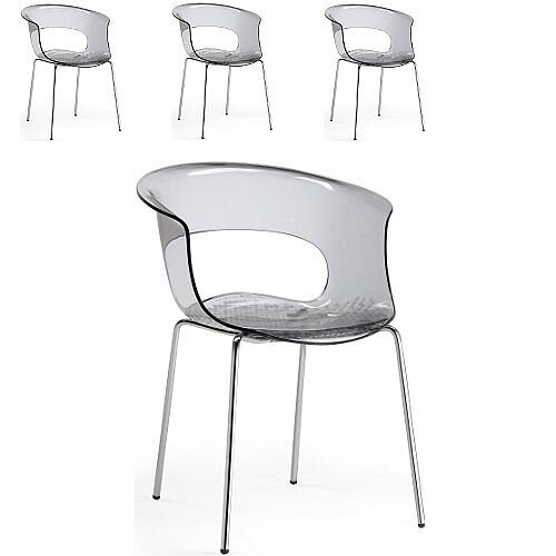 Miss B Antishock Canteen &Breakout Chrome Leg Chair Translucent Smoked Grey Set of 4