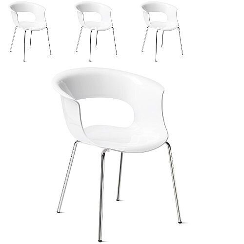Miss B Antishock Canteen &Breakout Chrome Leg Chair Glossy White Set of 4