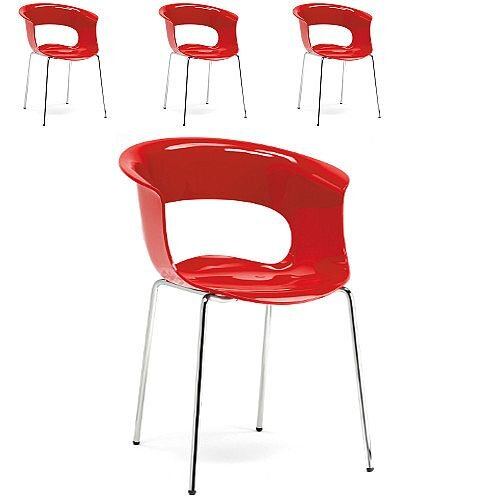 Miss B Antishock Canteen &Breakout Chrome Leg Chair Glossy Red Set of 4