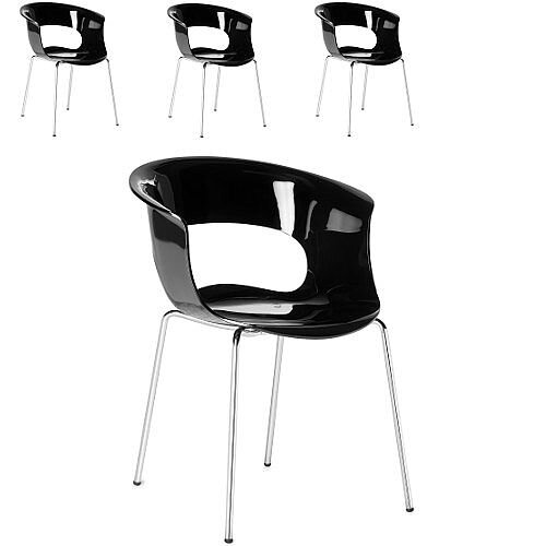Miss B Antishock Canteen &Breakout Chrome Leg Chair Glossy Black Set of 4