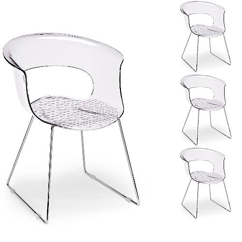 Miss B Antishock Canteen &Breakout Chrome Sled Frame Chair Transparent Set of 4