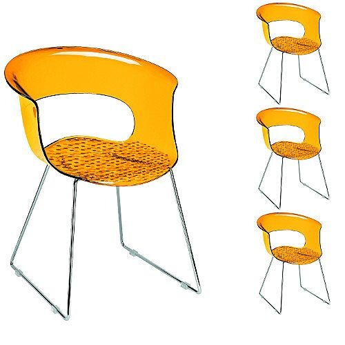 Miss B Antishock Canteen &Breakout Chrome Sled Frame Chair Translucent Orange Set of 4