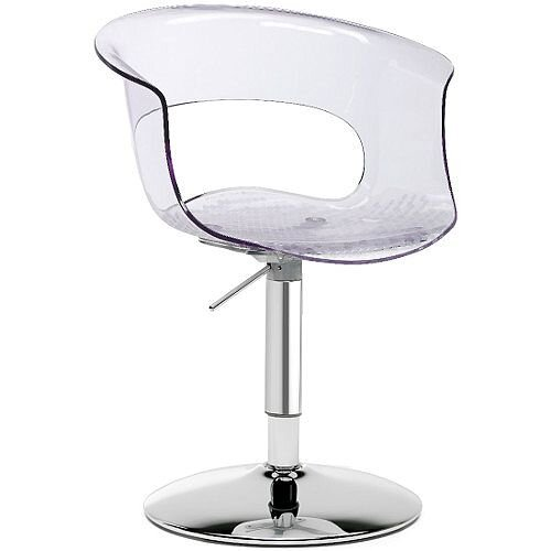 Miss B Up Antishock Chair With Chrome Height Adjustable Revolving Trumpet Base Transparent