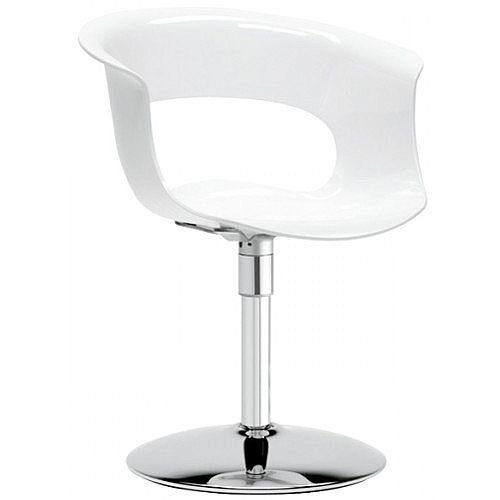 Miss B Twist Antishock Chair With Chrome Revolving Trumpet Base Glossy White