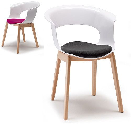 Natural Miss B Antishock Canteen &Breakout Wooden Leg Chair With Cushion Glossy White Set of 2