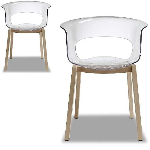 Natural Miss B Antishock Canteen &Breakout Wooden Leg Chair Transparent Set of 2