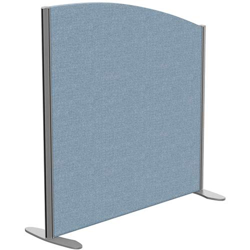 Sprint Eco Freestanding Screen Curved Top W1000xH1000-800mm Light Blue - With Stabilising Feet