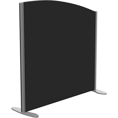 Sprint Eco Freestanding Screen Curved Top W1000xH1000-800mm Black - With Stabilising Feet