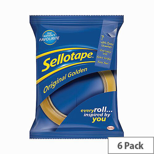 Sellotape Original Golden Sticky Tapes 24mm x 66mm Pack of 6