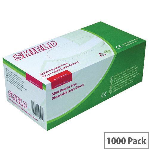 Disposable Powder Free Latex Gloves Clear Medium Pack 10x100 Shield GD05
