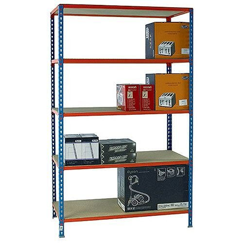 Standard Duty Painted Orange Shelf Unit Blue W1200xD300xH2000mm 378983