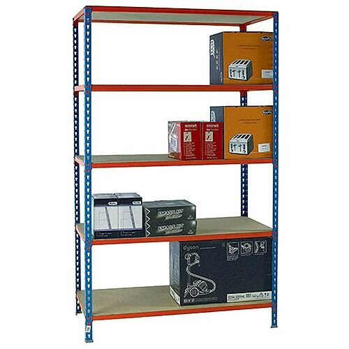 Standard Duty Painted Orange Shelf Unit Blue W1200xD500xH2000mm 378985