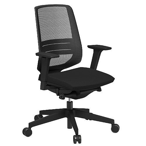 LightUp Modern Design Mesh Office Chair With Lumbar Support &Adjustable Arms Black Fabric Seat