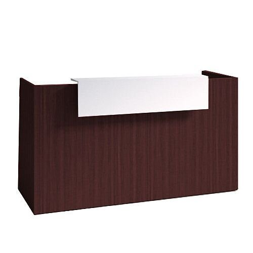SOVE Minimalist Design Reception Desk W1900mm Dark Walnut With White Counter Top