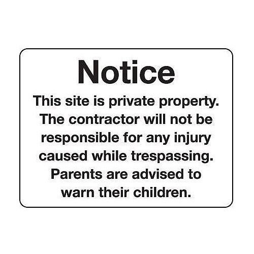 Sign Notice This Site Is Private 600X400 Aluminium