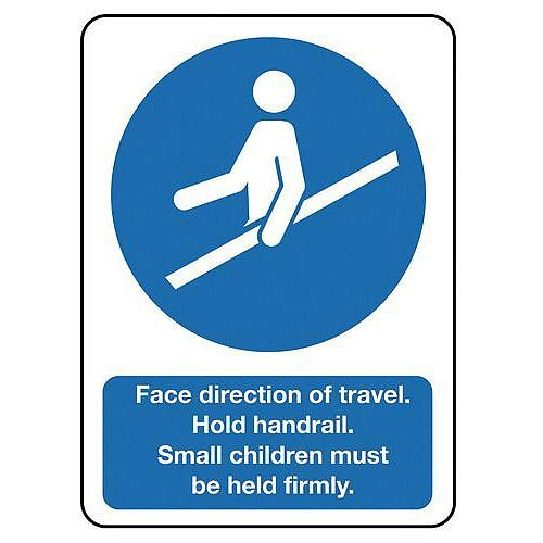 Aluminium Escalators And Passenger Conveyors Sign Face Direction Of Travel Hold Handrail...