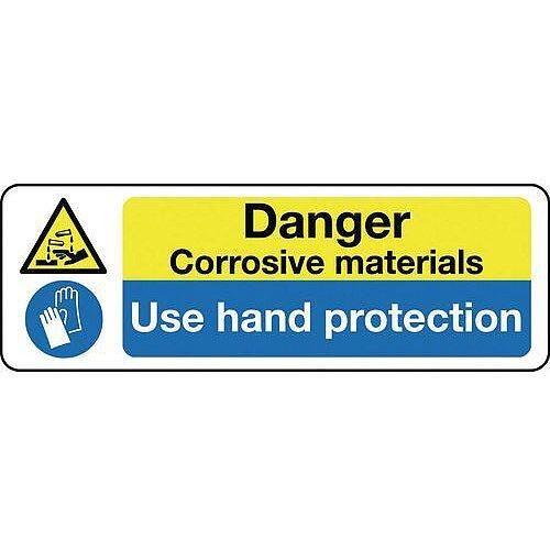 Aluminium Multi-Purpose Hazard Sign Danger Corrosive Materials Use Hand Protection