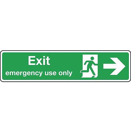 Aluminium Exit Emergency Use Only Arrow Right Slimline Sign H x W mm: 125 x 550