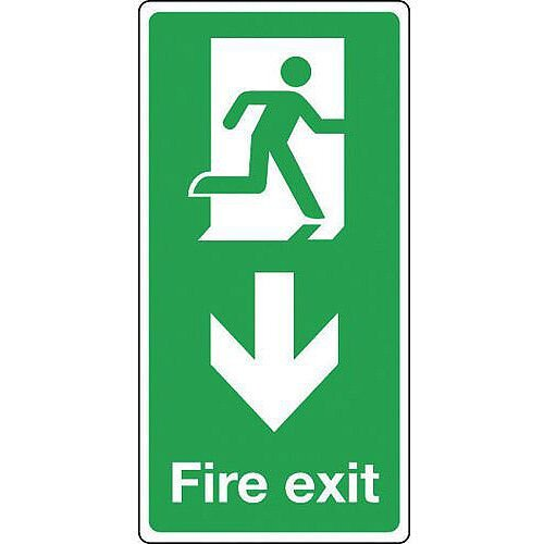Aluminium Fire Exit Arrow Down Sign Portrait H x W mm: 500 x 250