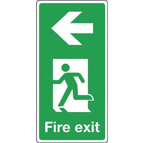 Aluminium Fire Exit Arrow Left Sign Portrait H x W mm: 500 x 250