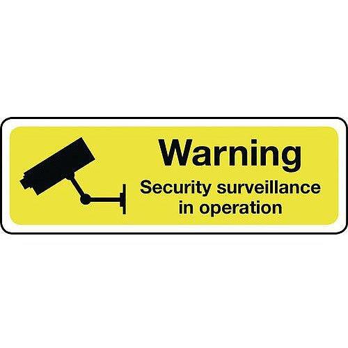 Aluminium Warning Security Surveillance Sign Hxw 100X300mm