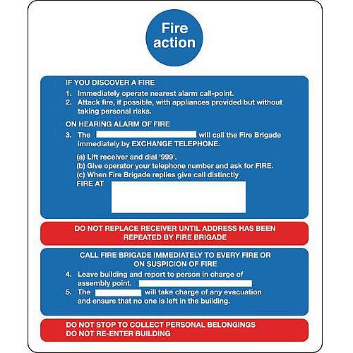 Sign Fire Action Notice 250X300 Rigid Plastic