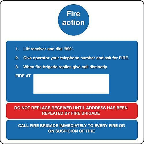 Sign Fire Action Notice 200X200 Rigid Plastic