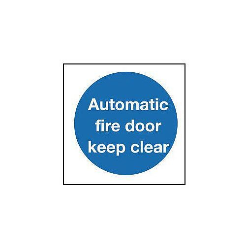 Rigid PVC Plastic Automatic Fire Door Keep Clear Sign