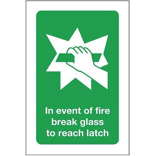 Rigid PVC Plastic In Event Of Fire Break Glass To Reach Latch Sign