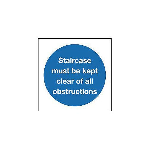 Rigid PVC Plastic Staircase Must Be Kept Clear Of All Obstructions Sign