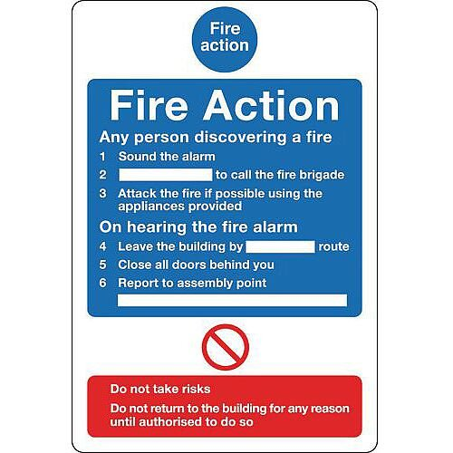 Sign Fire Action Notice 200X250 Rigid Plastic