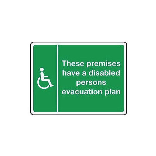 Rigid PVC Plastic Disabled Persons Evacuation Plan Sign