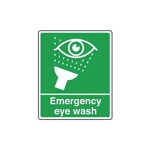 Rigid PVC Plastic Safe Condition And First Aid Sign Eyewash Text And Pictorial Hxw 100X75mm