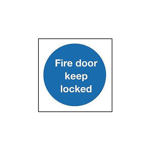 Rigid PVC Plastic Fire Door Keep Locked Sign