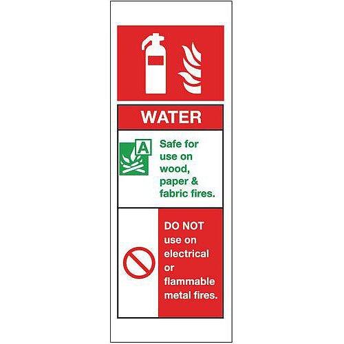 Rigid PVC Plastic Fire Extinguisher Sign Water
