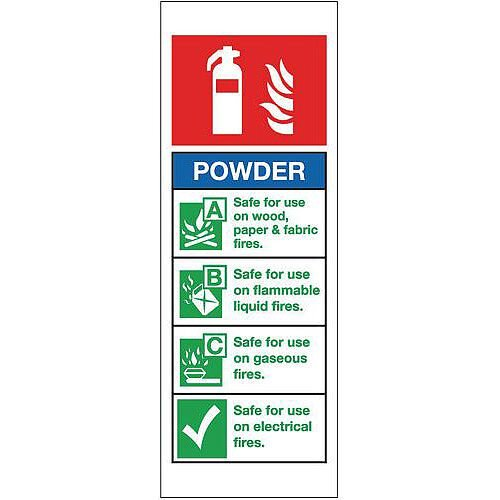 Rigid PVC Plastic Fire Extinguisher Sign Powder