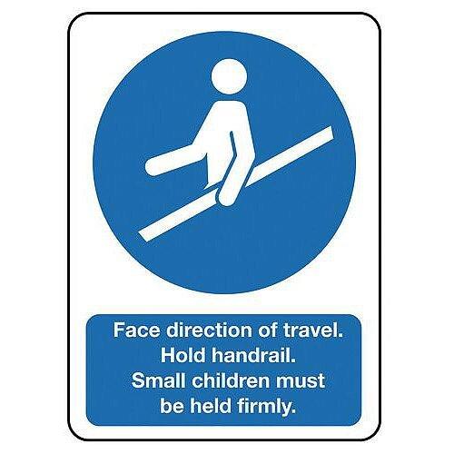 Rigid PVC Plastic Escalators And Passenger Conveyors Sign Face Direction Of Travel Hold Handrail...