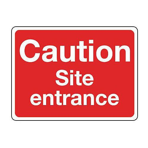 Rigid PVC Plastic General Construction Sign Caution Site Entrance