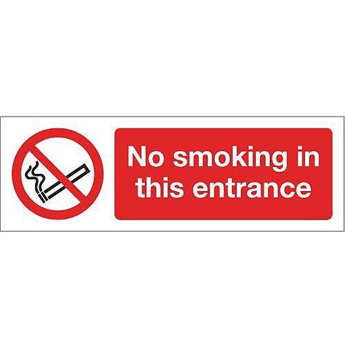 Rigid PVC Plastic Smoking Prohibition Sign No Smoking In This Entrance