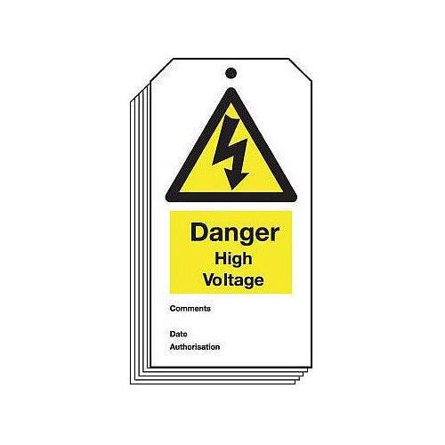 Tag Danger High Voltage 80X150 Rigid Plastic