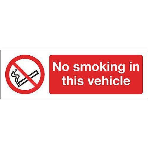 Rigid PVC Plastic Smoking Prohibition Sign No Smoking In This Vehicle