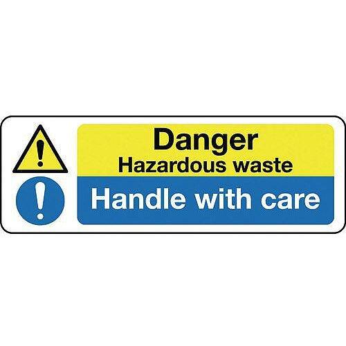 Rigid PVC Plastic Multi-Purpose Hazard Sign Danger Hazardous Waste Handle With Care
