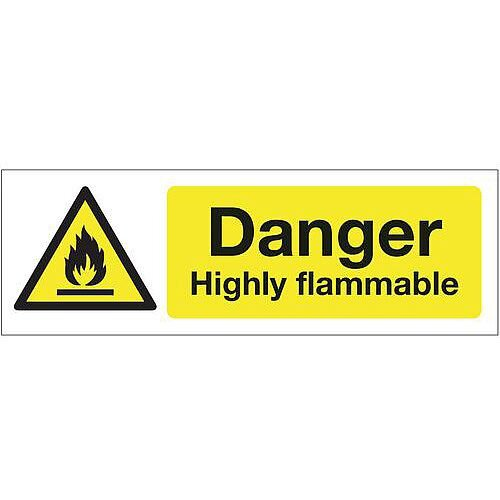 Rigid PVC Plastic Chemical And Substance Hazards Sign Danger Highly Flammable