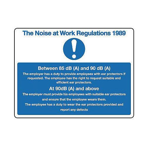 Rigid PVC Plastic The Noise At Work Regulations 1989 Sign