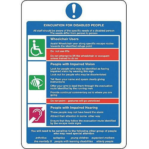 Sign Evacuation For Disabled 250X300 Rigid Plastic